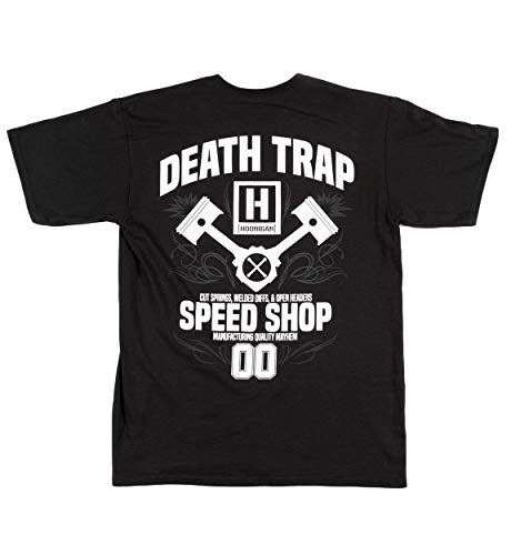 Hoonigan Black Death Trap Speed Shop Short Sleeve T-Shirt. Best Cool Graphic Tee for Mechanics, Gear-Heads, Car Truck Motorcycle Enthusiasts, Drifting, Race-Car Sports Fans Gift ()
