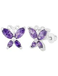 Rhodium Plated Purple Butterfly Screw Back Girl Earrings