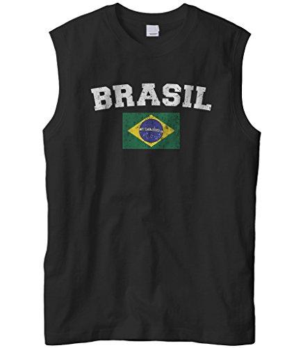 Cybertela Men's Faded Distressed Brasil Brazil Flag Sleeveless T-Shirt (Black, Large)