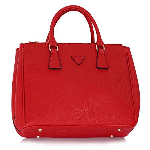 TrendStar Bolso Para Mujer Del Diseñador Bolsos De Las Señoras De Cuero De Imitación 3 Compartimento Totalizador Del Estilo Nueva Celebridad Amplio B - Red