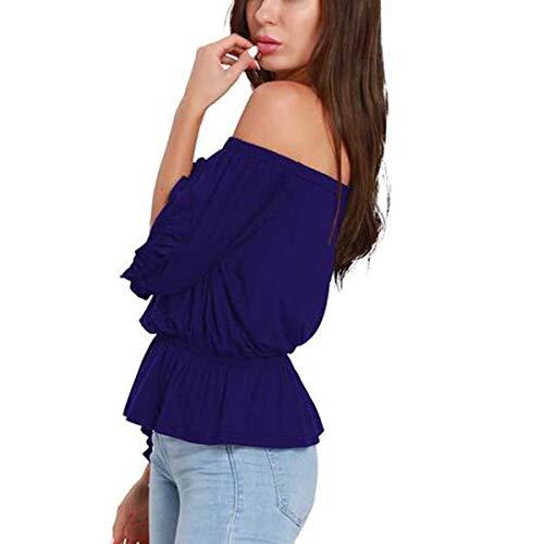 Shirts Manches Shirt Volants dnudes T Bleu Ourlet Femmes 3 Sexy 4 Ourlet Tops paules T axqPRTAq