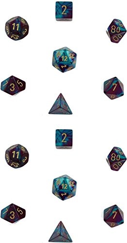Chessex Manufacturing Cube Gemini Set Of 7 Dice - Purple & Teal With Gold Numbering CHX-26449 (2-Pack)