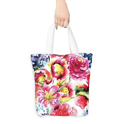 (Printed Shoulder bag Seamless wallpaper with spring flowers,Watercolor painting Comfortable hand feeling W11 x H11 x D3)