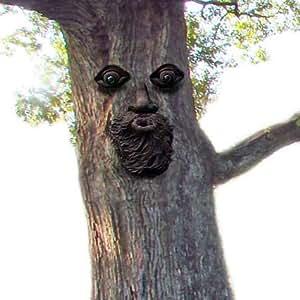 VILIGHT Árbol Bosque Cara Placa Exterior Árbol Tronco Decoración–Regalo único de Divertido de Escultura y Adorno para Jardín Patio