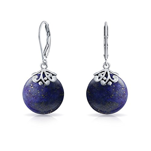- Bali Style Blue Lapis Lazuli Gemstone Round Disc Filigree Drops Leverback Dangle Earrings For Women 925 Sterling Silver