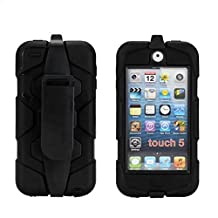 iPod Touch 6 Case,iPod Touch 5 Case - Hard belt clip design with Soft Hybrid Armor Defender Sports Combo Case for Apple iPod Touch 5 Generation iTouch 6th Generation (Black)