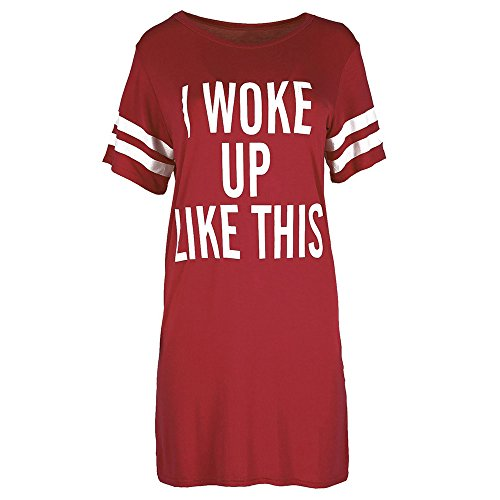 T-Shirt Dress, AgrinTol New Womens Black BOY Bye Turn Up Short Sleeve T-Shirt Top Dress (L, Wine Red 2)