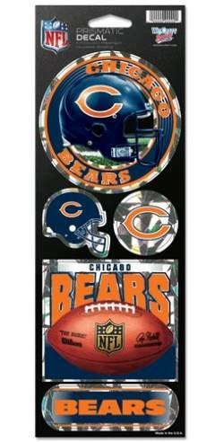 NFL Chicago Bears Prismatic Stickers, Team Color, One Size (Chicago Bears Sticker)