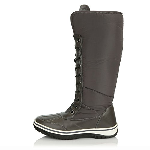DailyShoes Warm D'Cor up Water Fur Tone 2 Boots Women's Knee High Eskimo Gray Zipper Resistant Snow Cowboy rXwqzrY