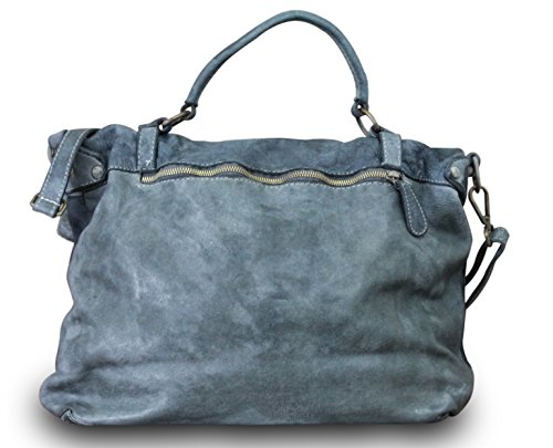 Fabriqué en Italie Sac à bandoulière Messenger Cross Body Bag Vintage Cartable Cuir Look Usé Gris