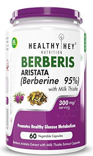 Healthy Hey Nutrition Berberis Berberine 95% with Milk Thistle – 60 Vegetable Capsules