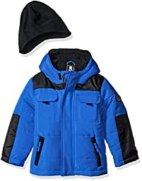 Rothschild Little Boys\' 2 Tone Bubble Jacket with Hat, Cobalt, (M)5/6