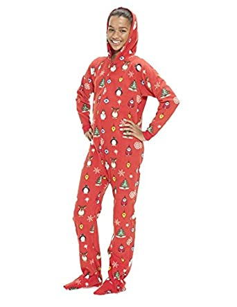 Amazon.com: Footed Pajamas - Holly Jolly Christmas Kids Hoodie One ...