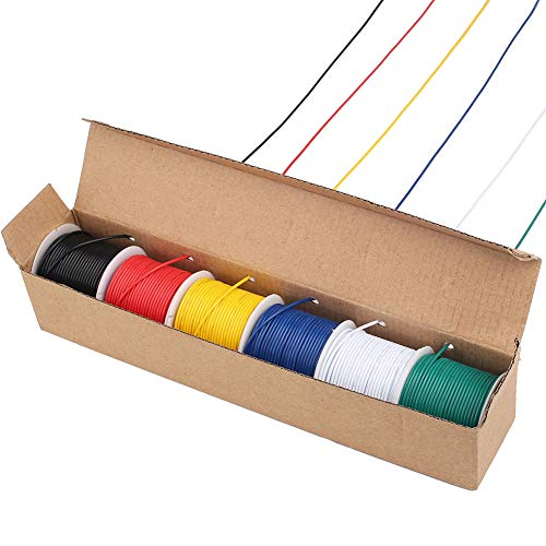 LotFancy 22AWG Stranded Wire, 6 Colors (30 Feet Each) Electrical Wire, Tinned Copper Hookup Wire Kit 22 Gauge 300V for DIY, Flexible, PVC insulated, UL Approved ()