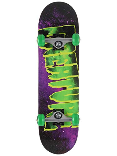 "Creature Skateboard Complete Galaxy Logo Purple/Green 7.5"" x 28.25"" Assembled"