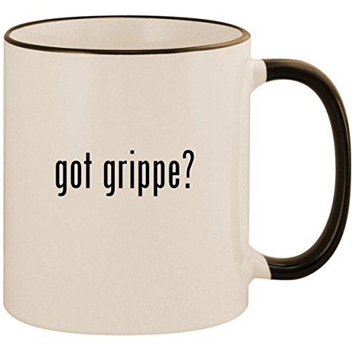 got grippe? - 11oz Ceramic Colored Handle & Rim Coffee Mug Cup, Black