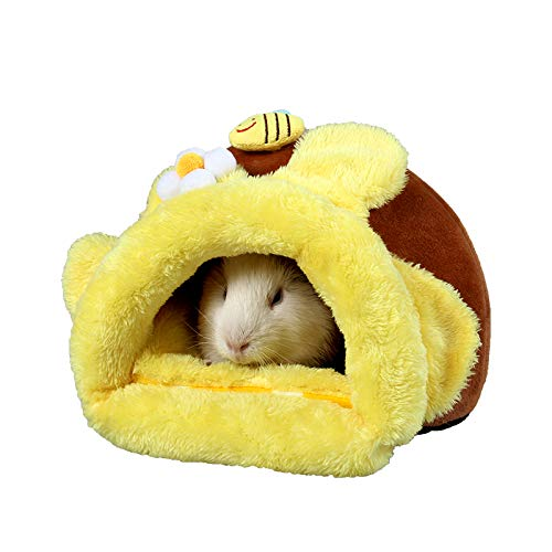 ABLAZEZAI Hedgehog Chinchilla Guinea Pig Bed Cage Toys Hamster Supplies Rat Habitat Bearded Dragon House Small Animal Nest(L,Honey Pot)