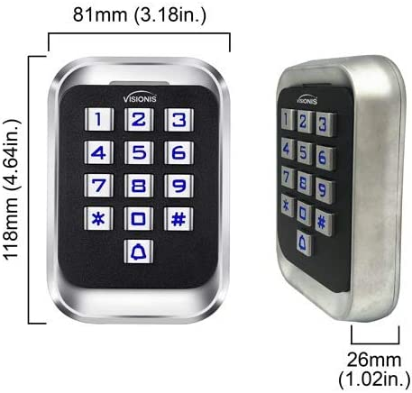 Visionis FPC-5630 One Door Access Control Outswinging Door 600lbs Maglock with VIS-3004 Indoor Outdoor Rated IP68 Keypad//Reader Standalone EM No Software 2000 Users Wireless Receiver PIR Kit