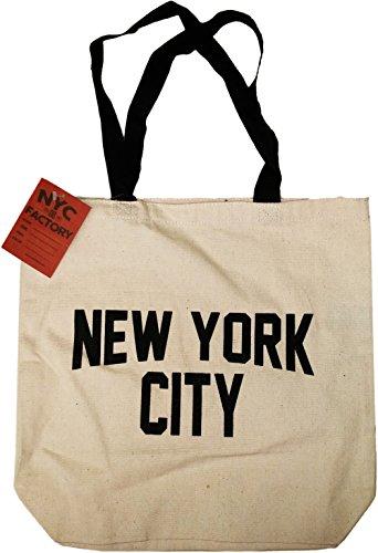 NYC Tote Bag Canvas New York City Gift Souvenir Black Straps
