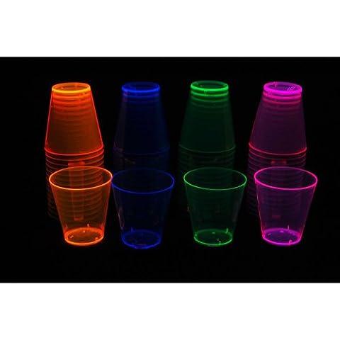 Party Essentials Hard Plastic 2-Ounce Shot/Shooter Glasses, 60-Count, Assorted Neon - Disposable Partito Posate Di Plastica