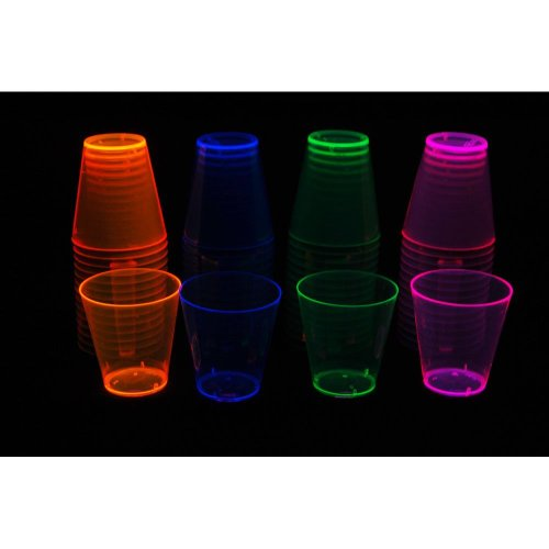 Glow Shot Glass (Party Essentials Hard Plastic 2-Ounce Shot/Shooter Glasses, 60-Count, Assorted Neon)