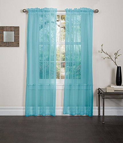 Kashi Home SP013087 55 x 84 Inch Lisa Sheer Panel - Aqua, (1 Panel) ()