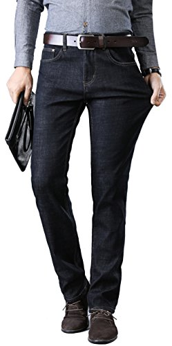 FREDD MARSHALL Men's Black Thermal Fleece Lined Skinny Winter Slim Fit Thicken Stretch Jeans ()