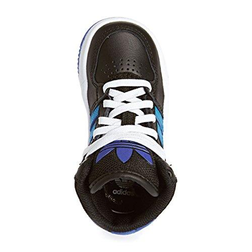 Adidas Originals COURT ATTITUDE EI I Schwarz Blau Leder Kinder Sneakers Schuhe Neu