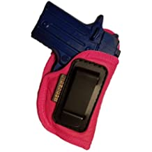 IWB Gun Holster by Houston | Pink ECO LEATHER Concealed Carry Soft Material | Suede Interior for Maximum Protection | Fits: Most Small 380, Keltec, Ruger LCP, Diamond Back, Small 25 & 22 Cal