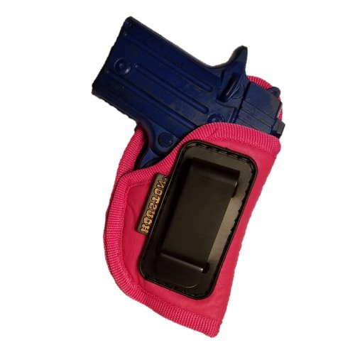 Pink ECO LEATHER Gun Concealment Holster Inside The Waist With Metal Clip Fit Most small 380, Keltec, Ruger LCP,Diamond Back,Most 25 & 22 Cal (right) (CHPK-71A-RH) (Magazine 25 Raven)