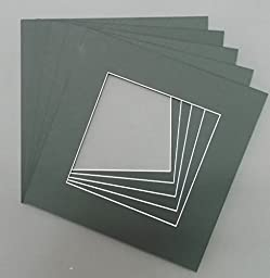 Pack of 10 12x12 Square Black Picture Mats with White Core Bevel Cut for 8x8 Pictures