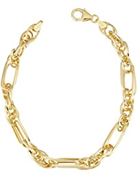 14k Yellow Gold Triple Link Bracelet (5.5 mm, 7.25 inch)