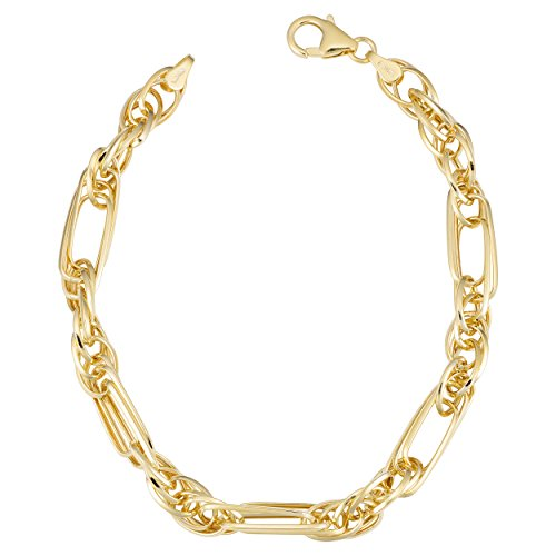 Kooljewelry 14k Yellow Gold Triple Link Bracelet (5.5 mm, 7.25 ()