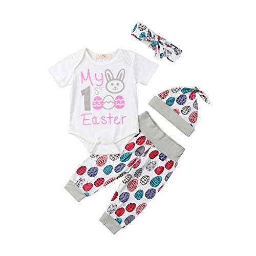 Newborn Baby Easter Outfit Boy Girl Short Sleeve Bodysuit+Egg Print Pants+Hats Outfits Clothes Set
