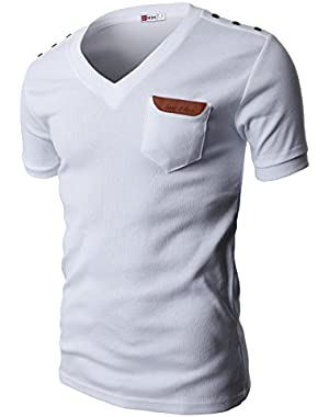 Mens Slim Fit V-neck T-shirts Basic Cotton Of Various Styles