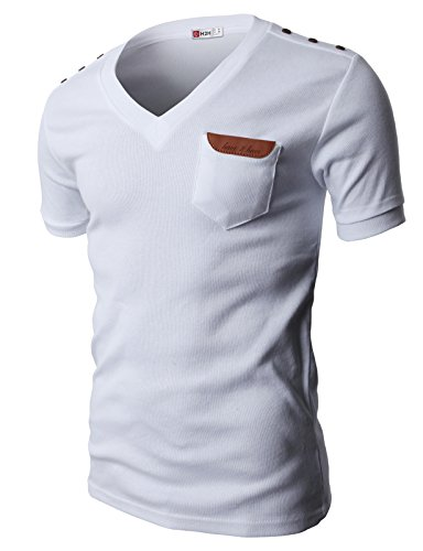 H2H Mens Basic Cotton V-neck T-shirts with Point Shoulder Button Leather Pocket WHITE US L/Asia XL (JDSK16)
