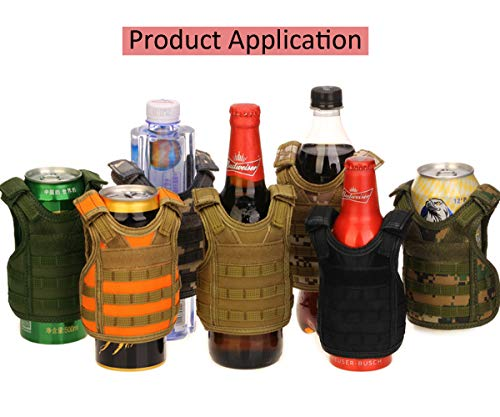 CyberDyer Beer Vests Beverage Cooler Tactical Mini Molle Adjustable Beverage Holder for 12oz or 16oz Cans or Bottles (Desert Camouflage)