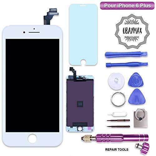 UBaymax Retina Display Ersatz Set kompatibel mit iPhone 6 Plus Weiß- Einfache Installation LCD Bildschirm mit Touchscreen Inkl. komplettem Werkzeug für Do-It-Yourself Reparatur