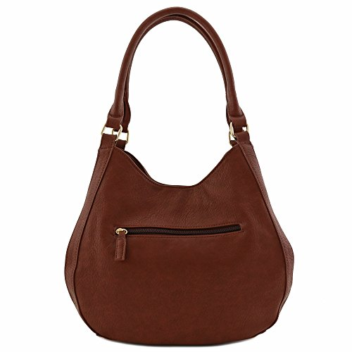 Light-weight 3 Compartment Faux Leather Medium Hobo Bag (Coffee) by FashionPuzzle (Image #4)