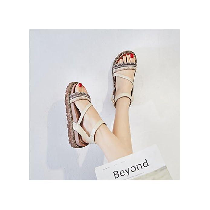 Yubinliangxie Sandali Summer Wild Vintage Scarpe Da Donna A Fondo Spesso colore Gray Dimensioni 38