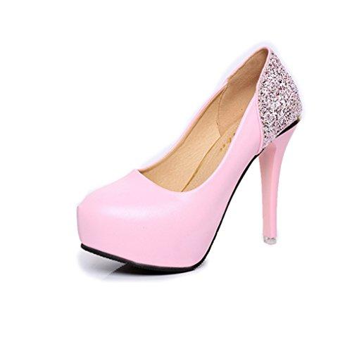 LBDX Otoño Sexy Zapatos Individuales Cabeza Redonda Tacón Delgado Boca Poco Profunda Zapatos de Trabajo de Diamantes de Imitación de Color Liso Pink