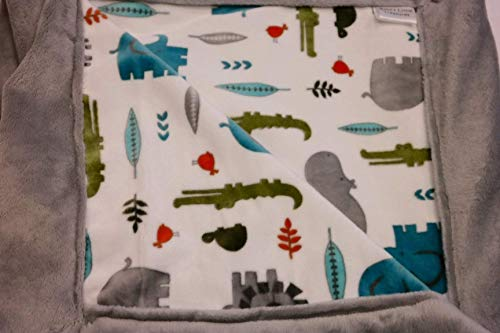 The Cutest Grey and White Velour Animal Baby Blanket | Baby's Little Treasures