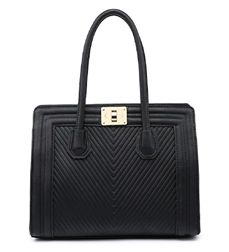 MF4069 Clasp Messenger Twist Handbag Women's Bag Work Black Day Ladies Shoulder Quilted q4Rw15U1cv