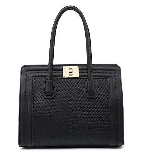 MF4069 Clasp Messenger Twist Handbag Women's Bag Work Black Day Ladies Shoulder Quilted q4Rw15U1cv
