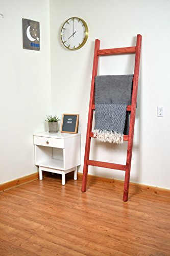 Bits + Bushel, 6 Ft [Wide] Wooden Decorative Ladder | 5 Rung, Stained Weathered Gray Blanket Ladder (barn red) by Bits + Bushel
