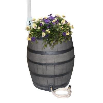 50 Gallon Gray Flatback Whiskey Rain Barrel with Integrat...