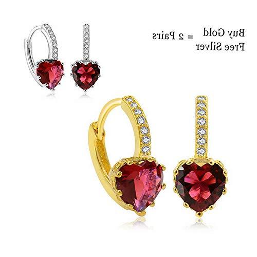 Dokis 2pair/Set Charm Multi-Color Crystal Rhinestone Heart Hoop Earrings Women Jewelry | Model ERRNGS - 2891 |