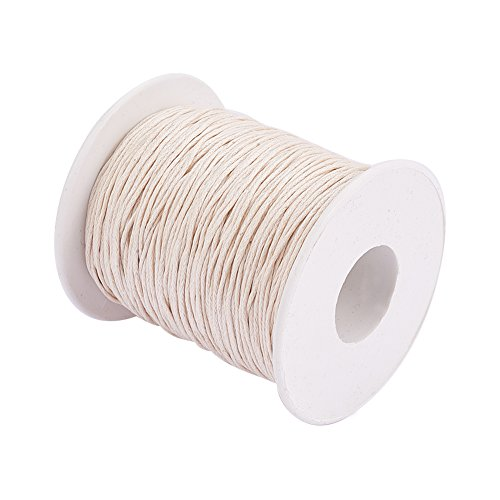 PH PandaHall 1 Roll 1mm 100 Yards Waxed Cotton Cord Thread Beading String for Jewelry Making Crafting Beading Macrame Beige