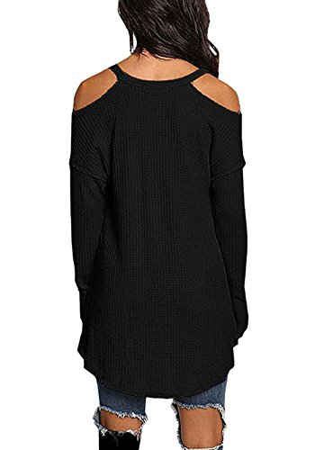 Irregulier Sexy Couleur Chemisiers t Blouse T Epaule Haut Longue Col Unie Longues Tops OUFour V Shirt Noir Manches Femmes Dnude wgnxOZZ