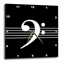 3D Rose Bass F-Clef Staves Staff-Music Musician Gift Wall Clock, 13 x 13, Black